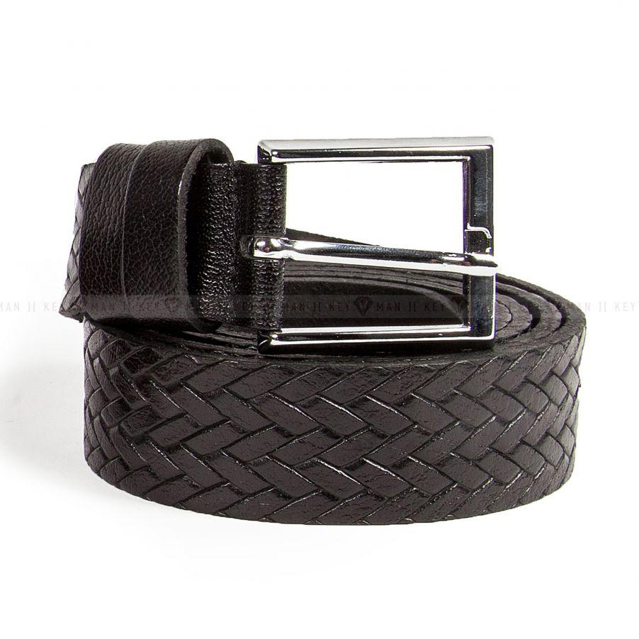 Ремень мужской с имитацией крупного плетения черный