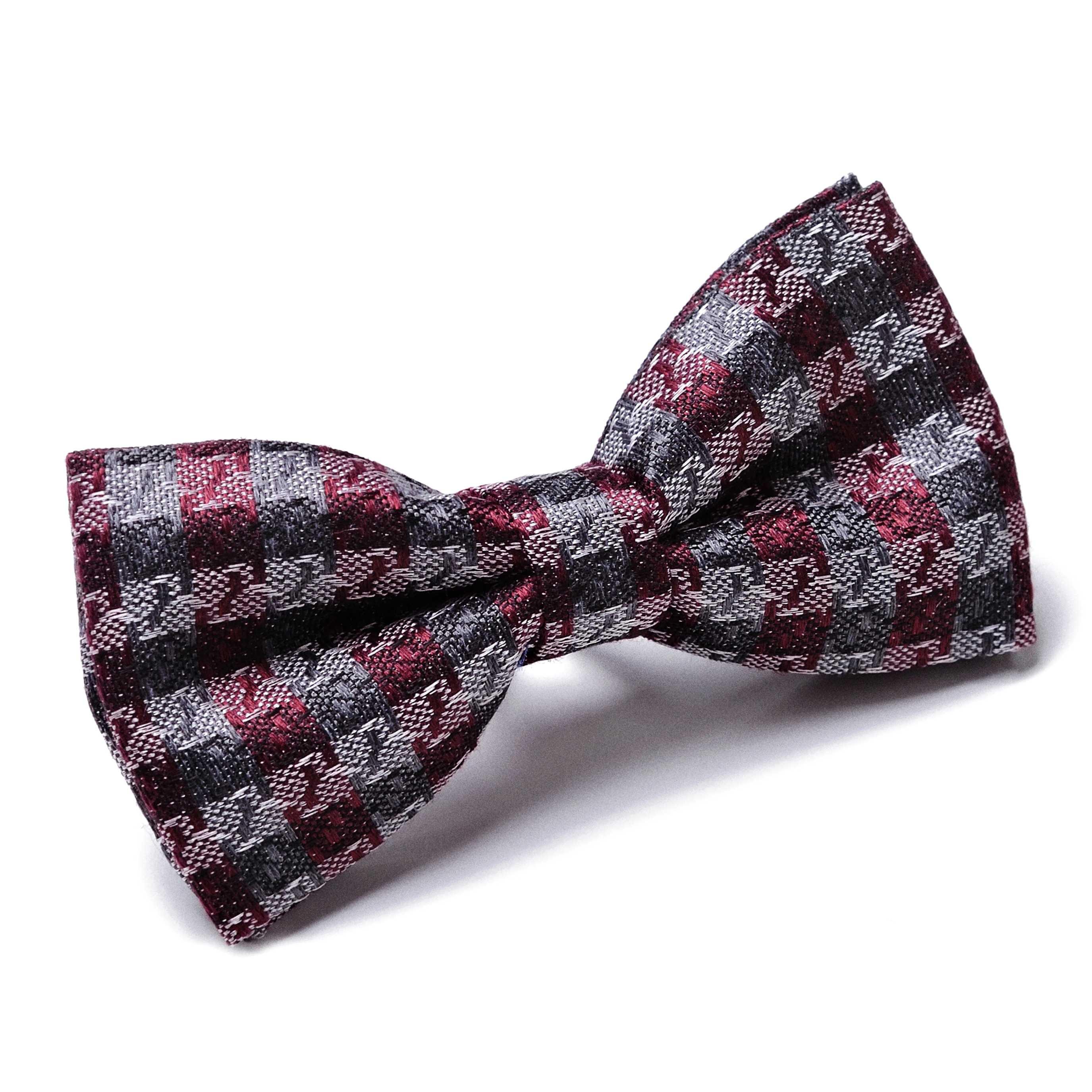 Бабочка мужская серо-бордовая фактурное плетение