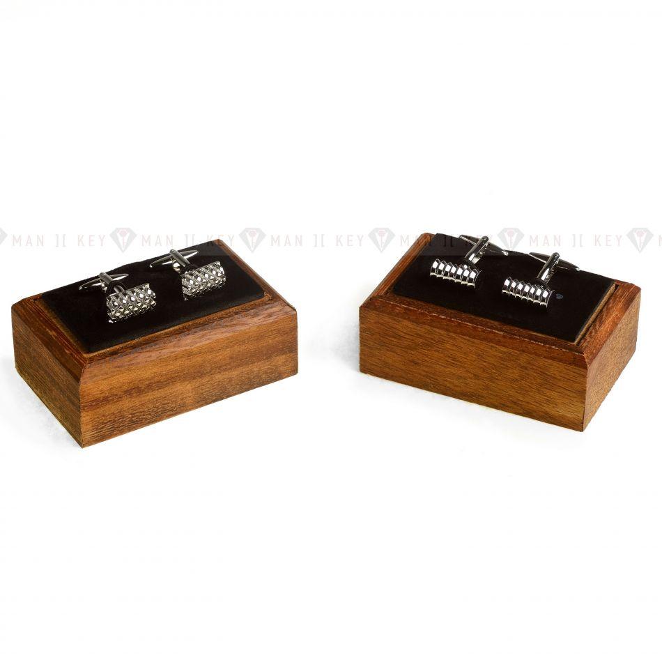 Запонки мужские в коробке из натурального дерева