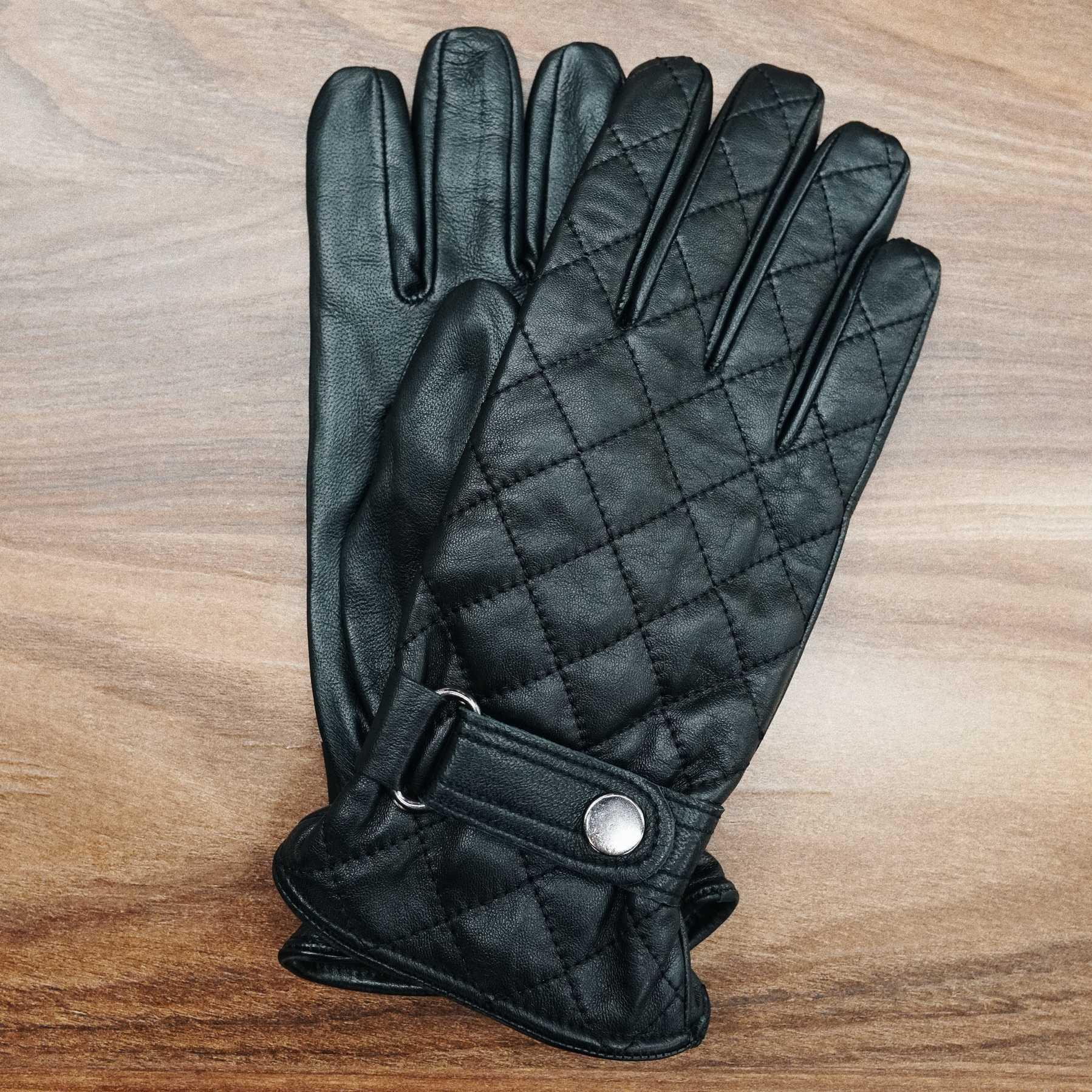 Перчатки мужские кожаные стеганые