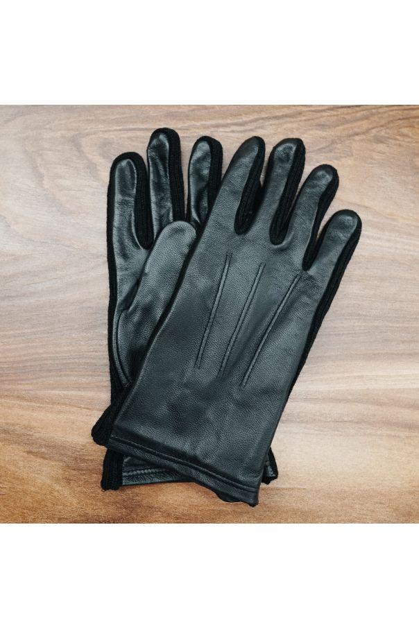 Перчатки мужские кожаные с декоративной строчкой и вязаными вставками