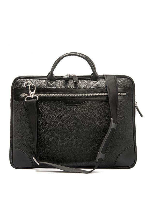 Портфель мужской черный, бескаркасный, одно отделение, с расширителем
