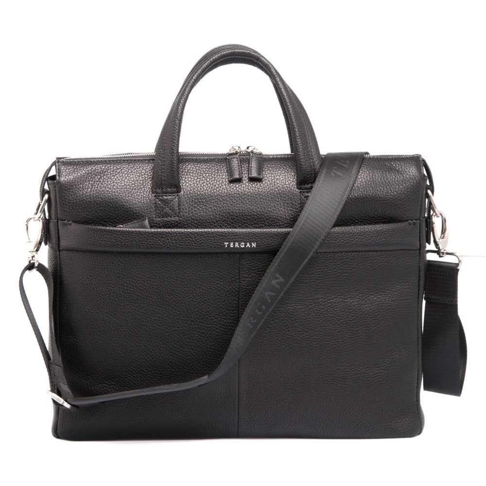 Портфель мужской черный, бескаркасный, одно отделение, с двух сторон карманы на молнии