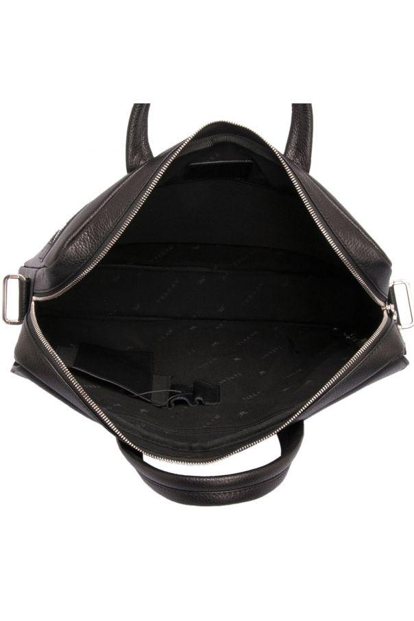 Портфель мужской черный, бескаркасный, с одним отделением на молнии