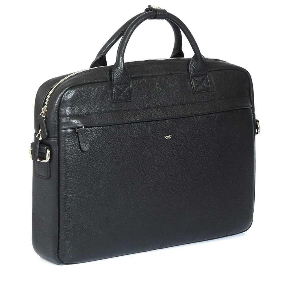 Портфель мужской черный, бескаркасный, одно отделение, спереди два кармана на молнии