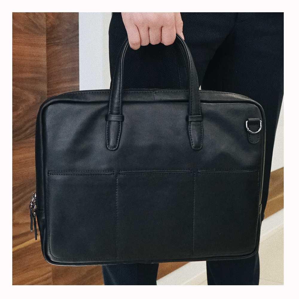 Портфель мужской черный, бескаркасный, одно отделение, гладкая кожа