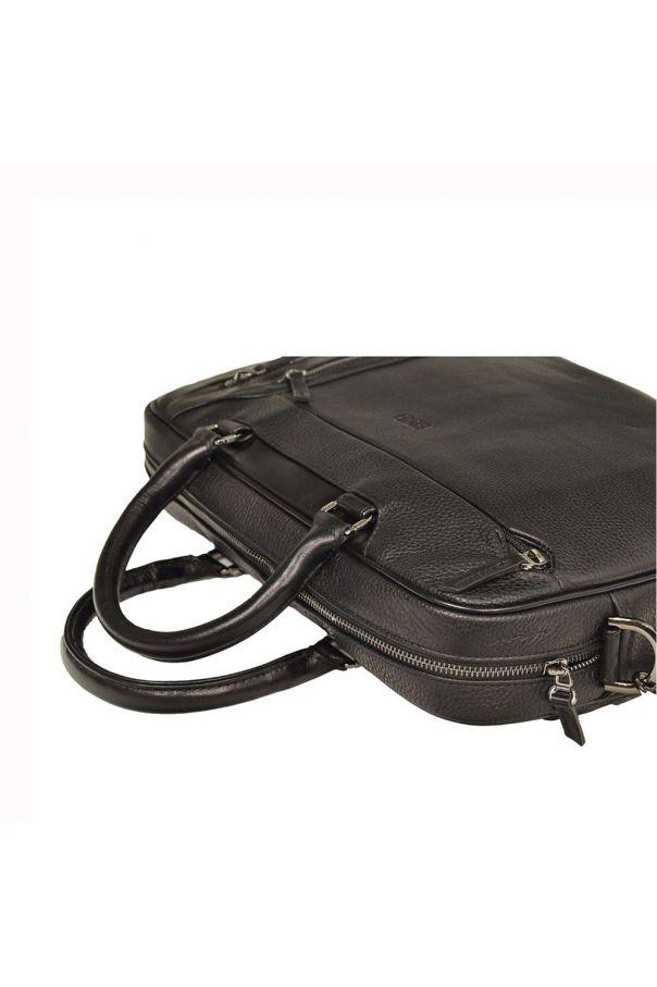 Портфель мужской черный, одно отделение, 3 замка на лицевой стороне