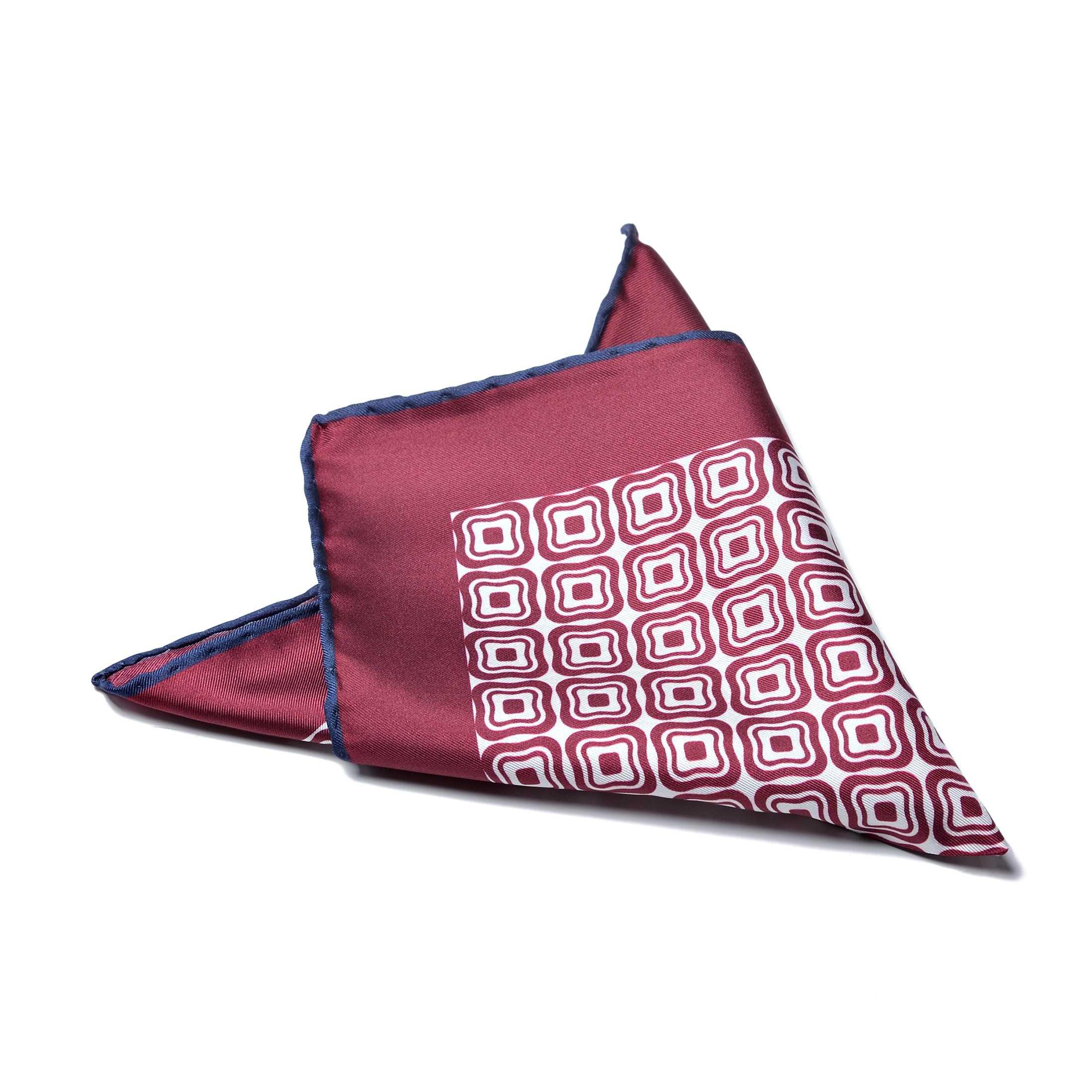 Платок нагрудный в карман бордовый с графическим рисунком и синей окантовкой (шелк)