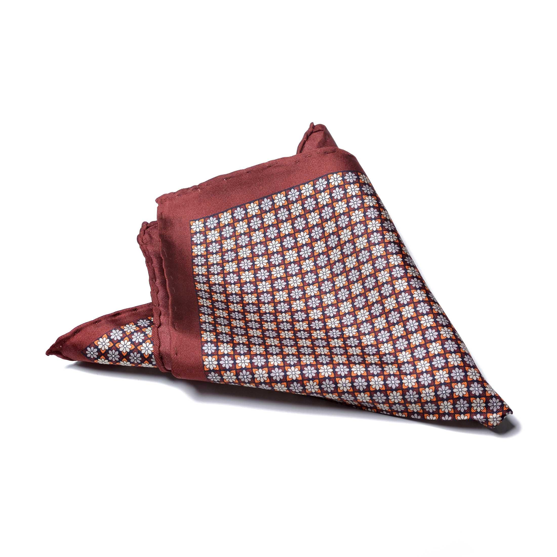 Платок нагрудный в карман кирпично-бордовый цвет с цветочным рисунком (шелк)