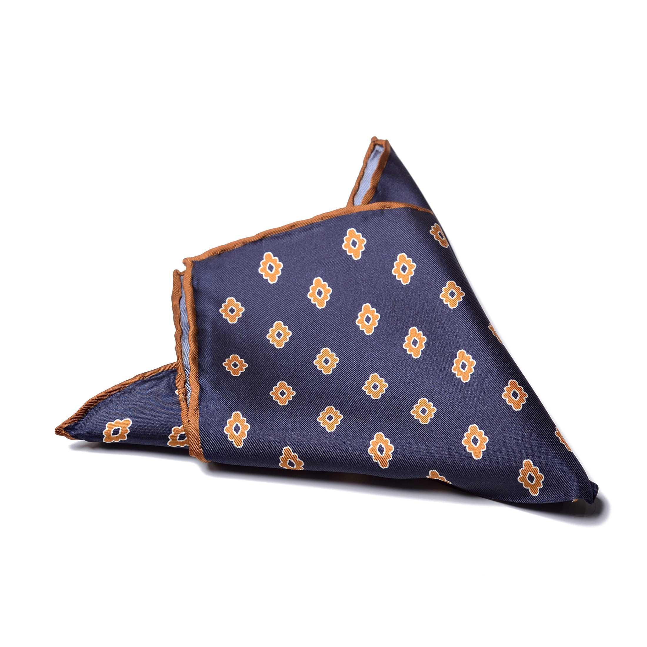 Платок нагрудный в карман темно-синий с рыжими узором и окантовкой (шелк)