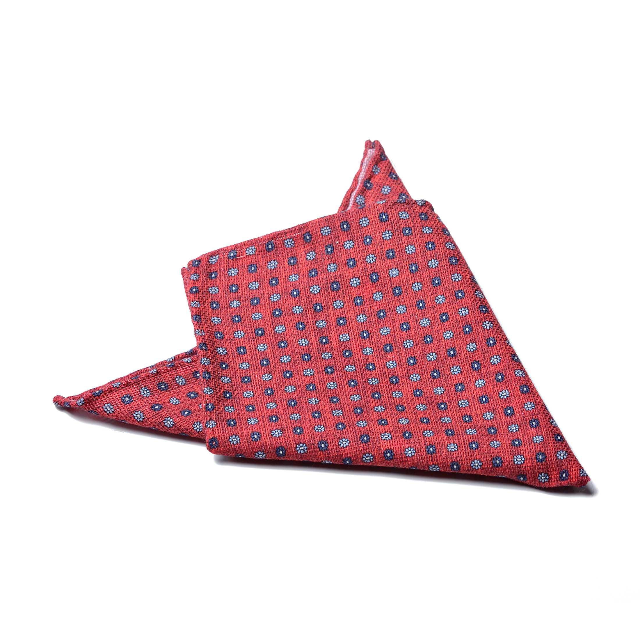 Платок нагрудный в карман розово-красный в цветы (хлопок, шелк)