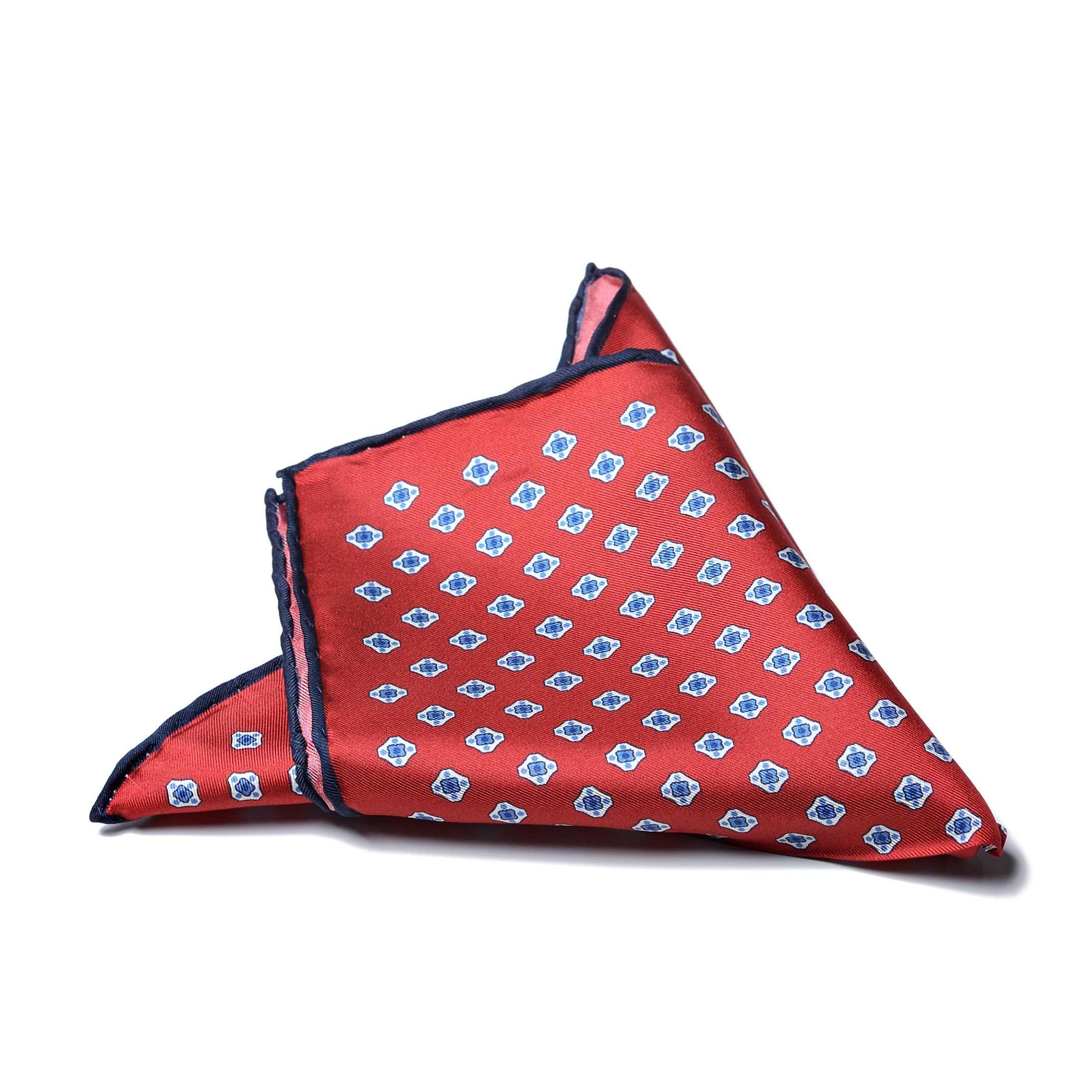 Платок нагрудный в карман красного цвета в бело-синий узор с синей окантовкой (шелк)