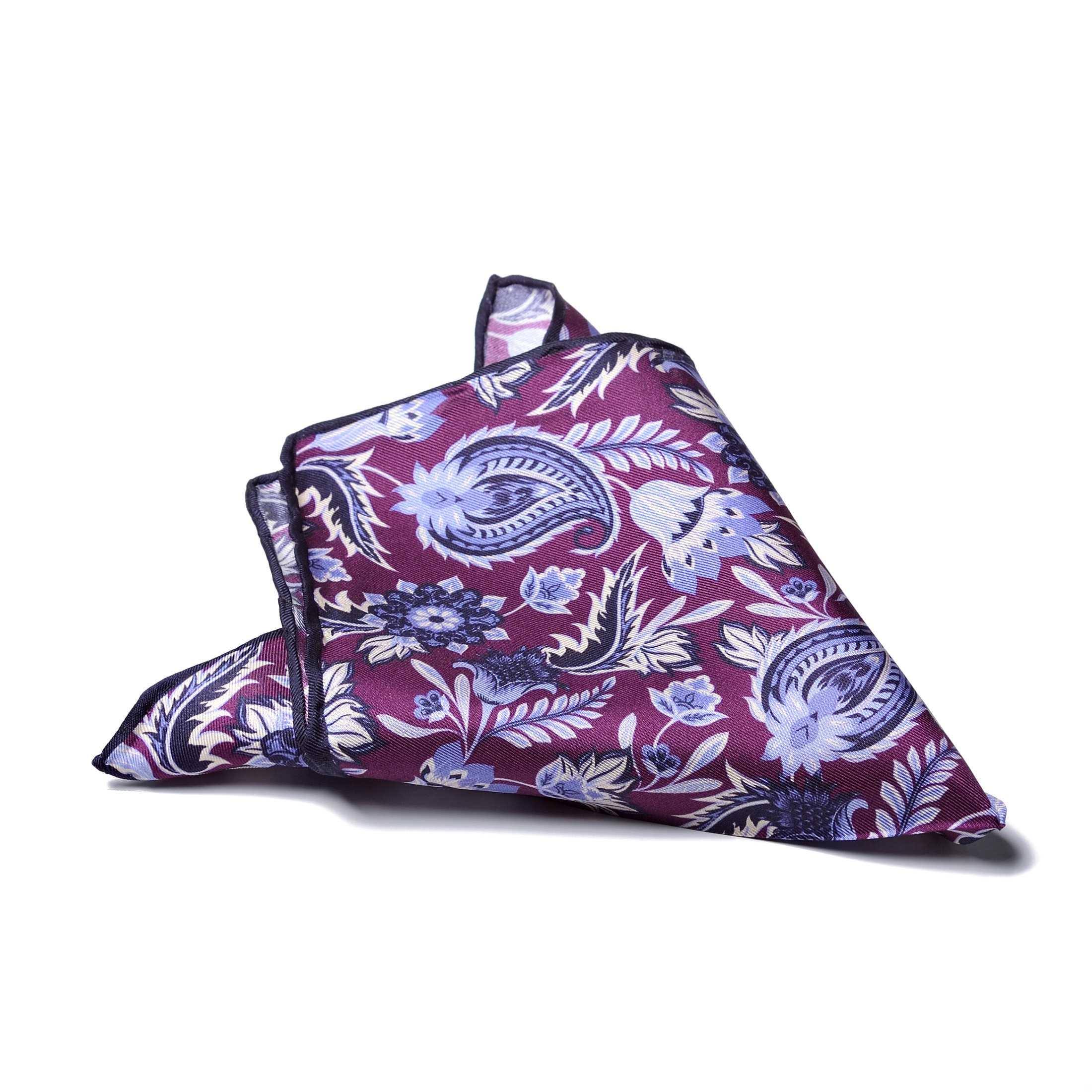 """Платок нагрудный в карман фиолетового цвета в  узор """"пейсли"""" с синей окантовкой (шелк)"""
