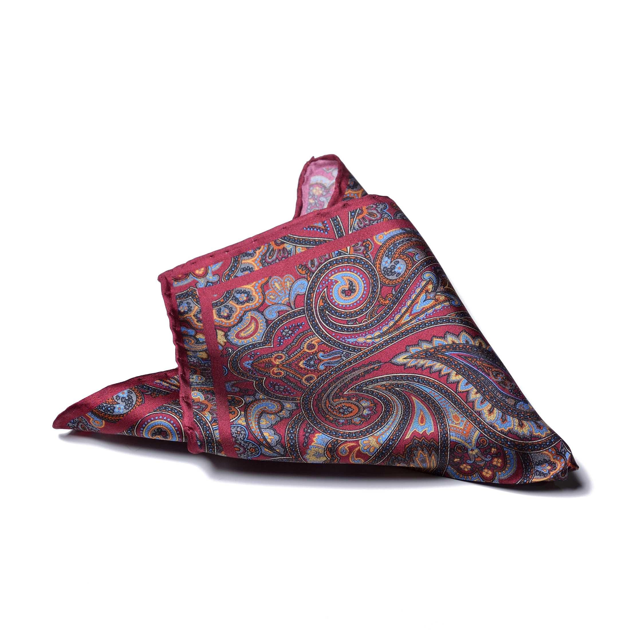 """Платок нагрудный в карман бордовый в разноцветный узор """"пейсли"""" (шелк)"""