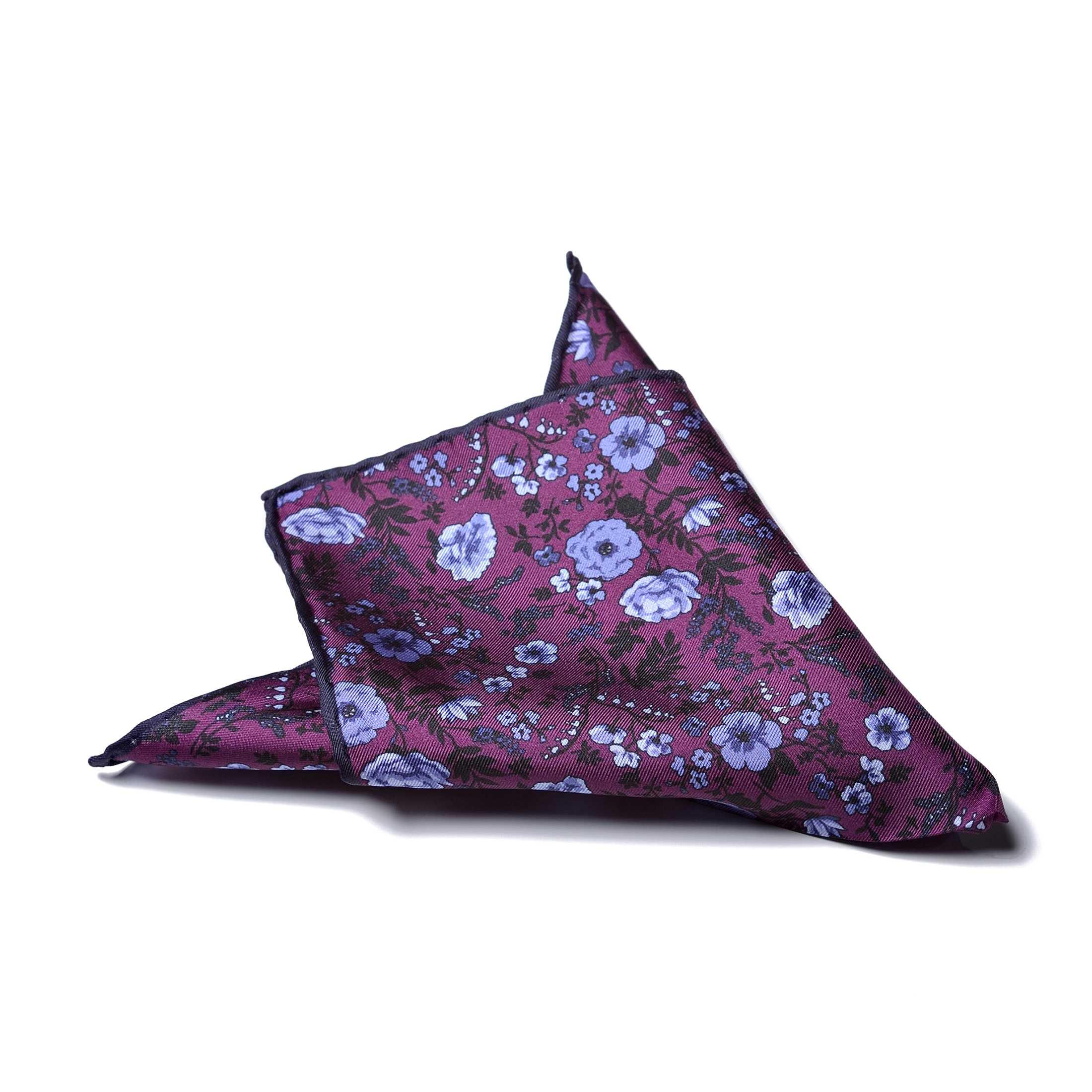 Платок нагрудный в карман фиолетовый в цветы с синей окантовкой (шелк)