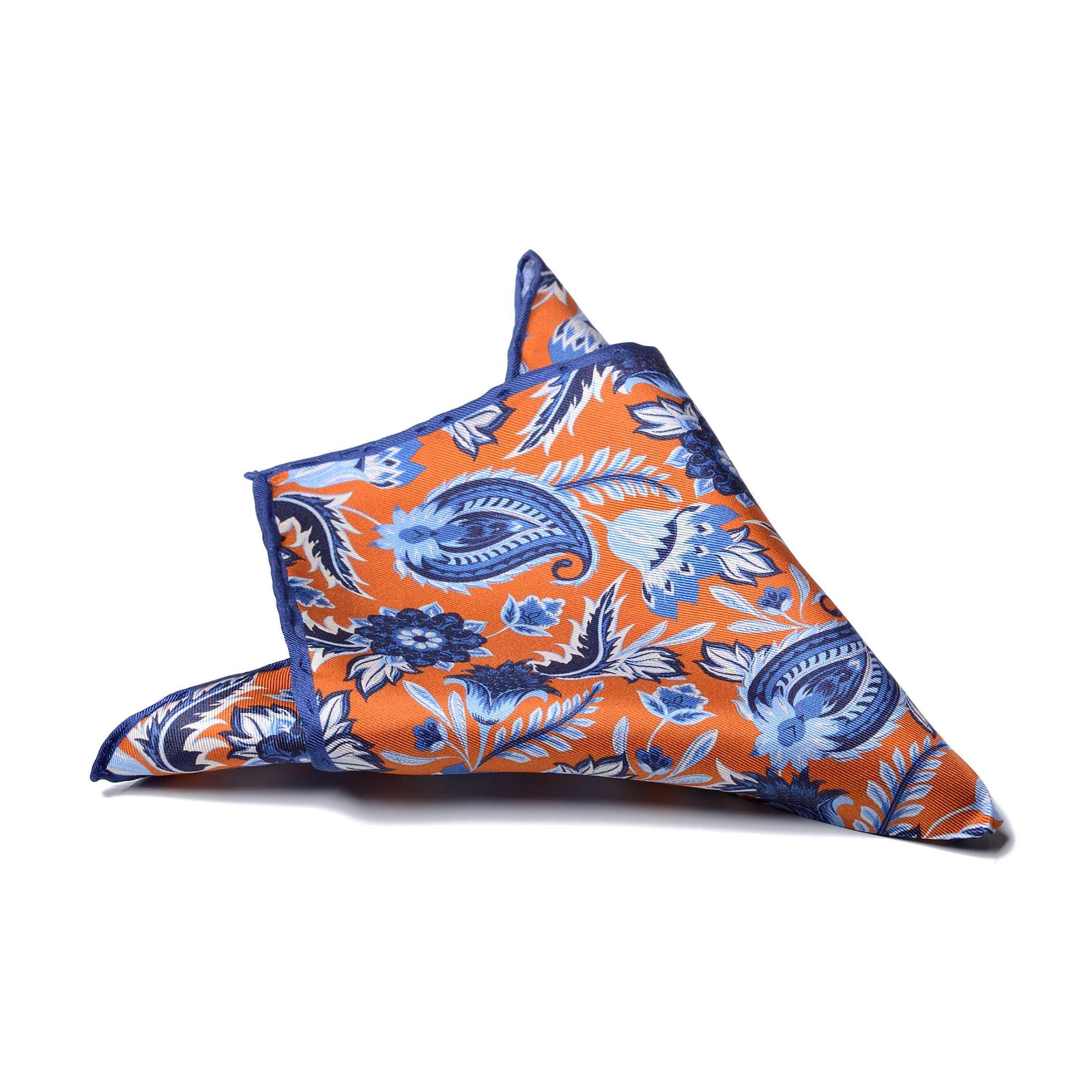 """Платок нагрудный в карман оранжевый в рисунок """"пейсли"""" и синей окантовкой (шелк)"""