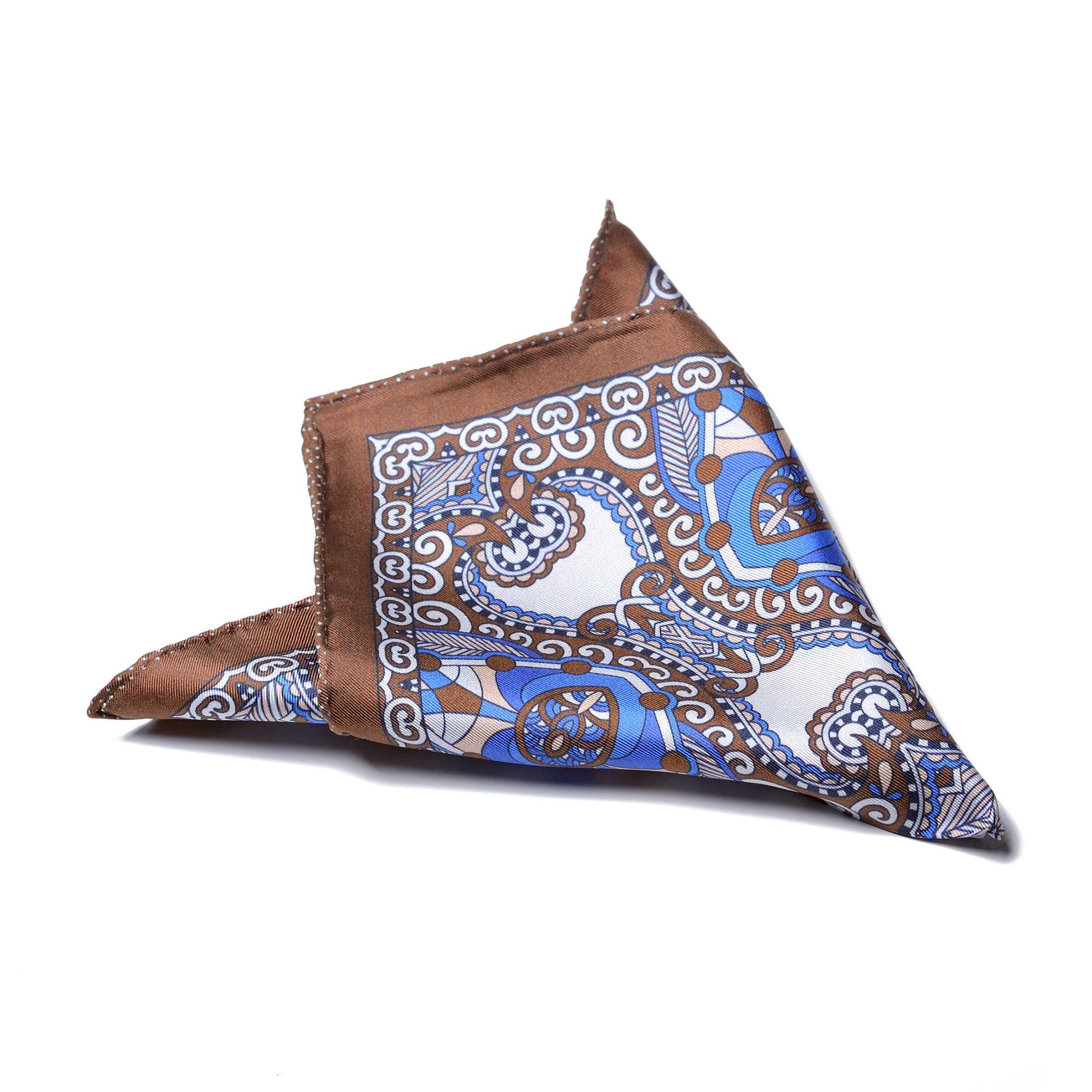 Платок нагрудный в карман коричневый в яркий бело-голубой орнамент (шелк)
