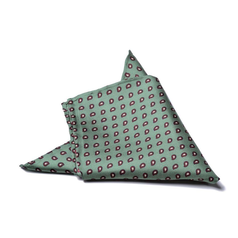 """Платок нагрудный в карман зеленый в мелкий бордово-белый узор """"пейсли"""" (шелк)"""