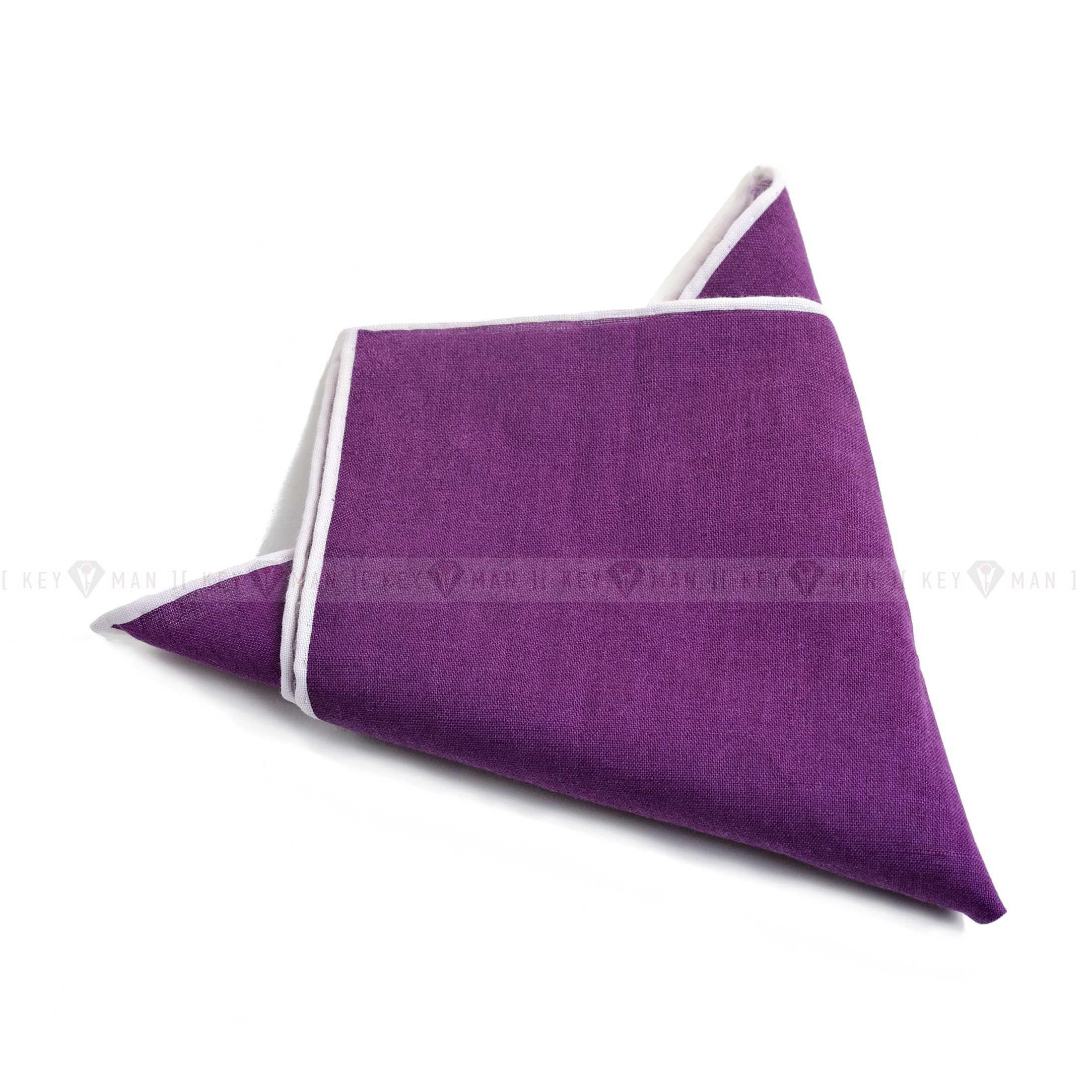Платок нагрудный в карман пиджака льняной фиолетовый