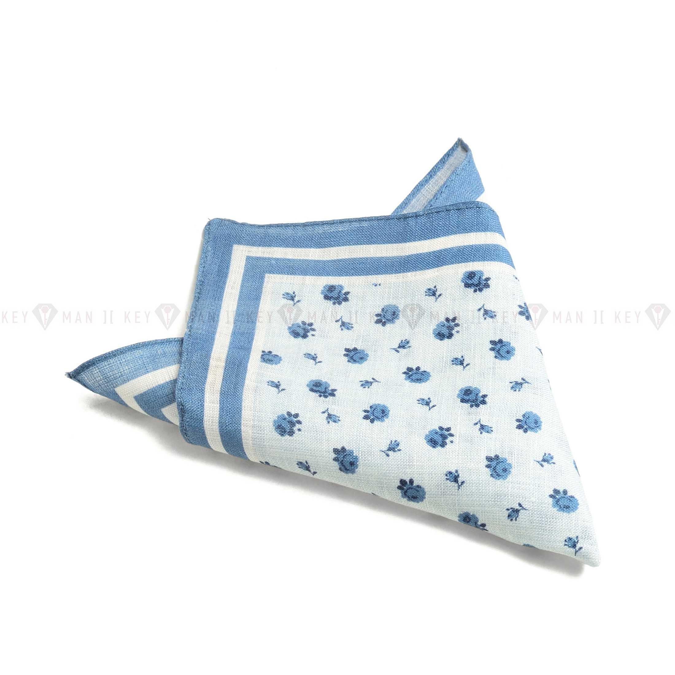 Платок нагрудный в карман пиджака льняной бело-голубой в цветы