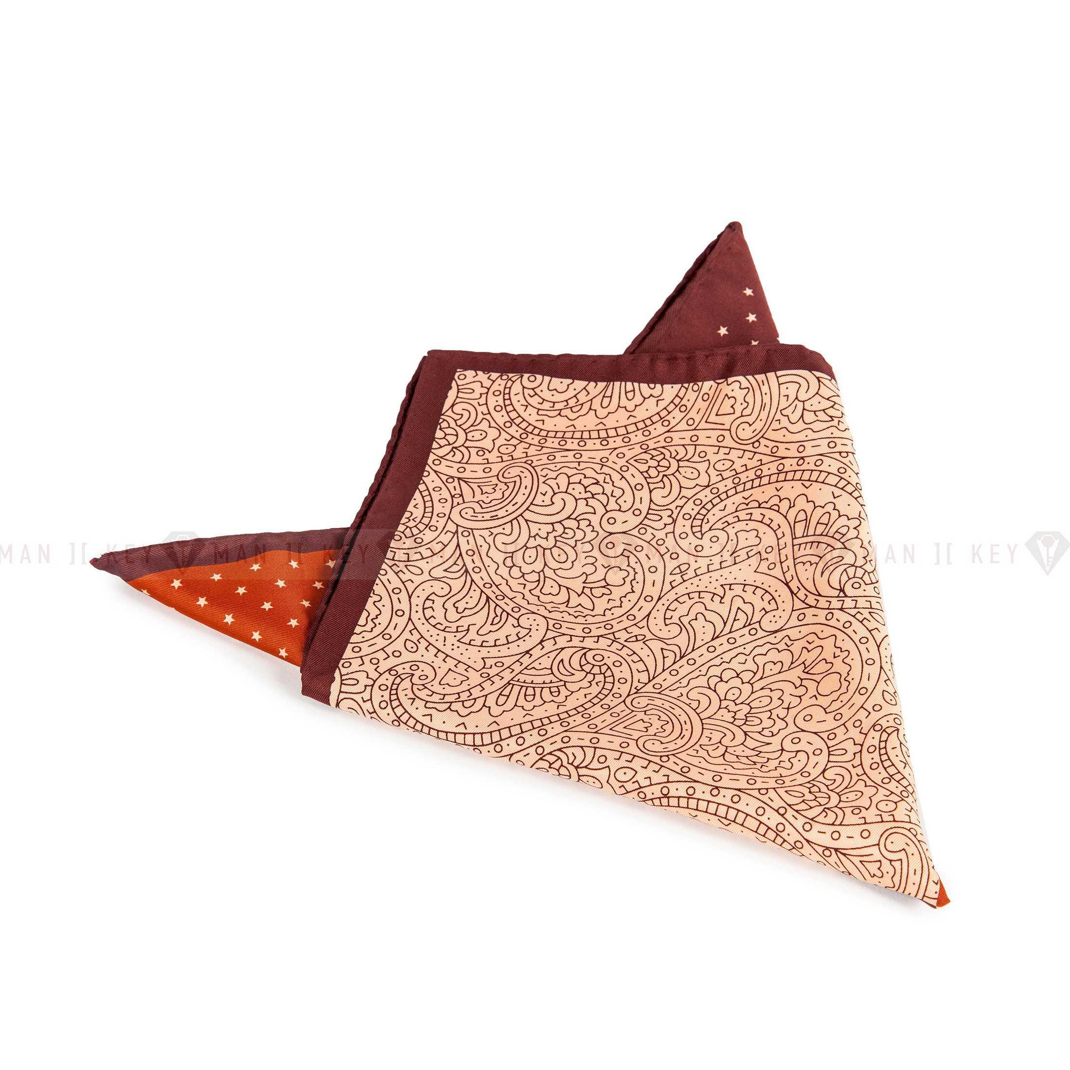 Платок нагрудный в карман пиджака бежево-коричневый