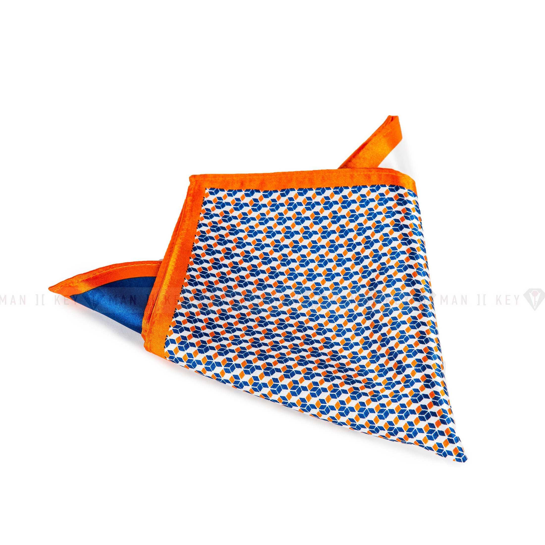 Платок нагрудный в карман пиджака сине-бело-оранжевый