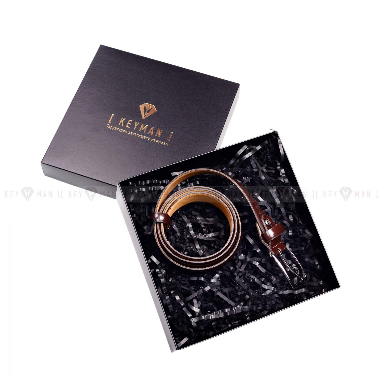 Пример подарочного набора Keyman (фирменная коробочка, ремень коричневый)