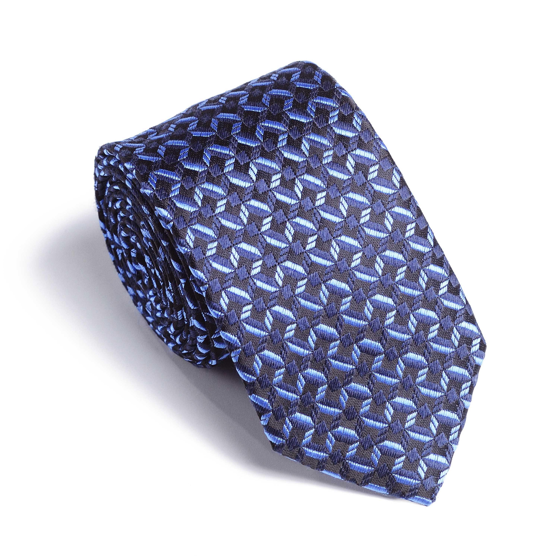 Галстук мужской черный с сине-голубым графическим рисунком
