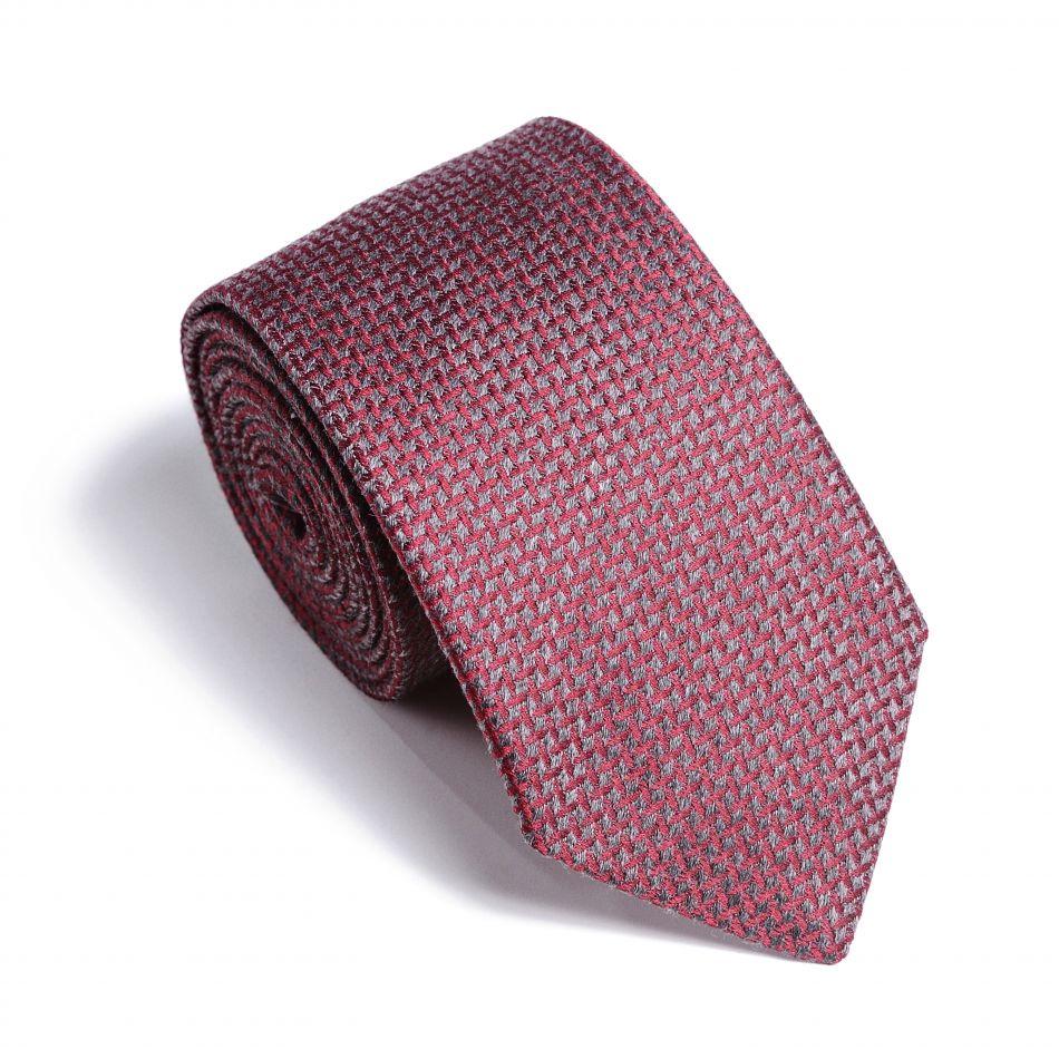 Галстук мужской рубиновый с серым узором