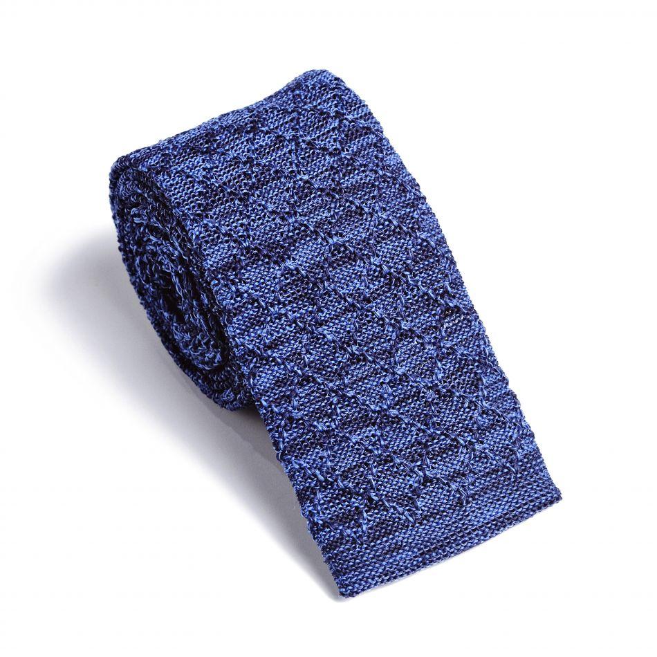 Галстук мужской светло-синий трикотажный, объемное плетение