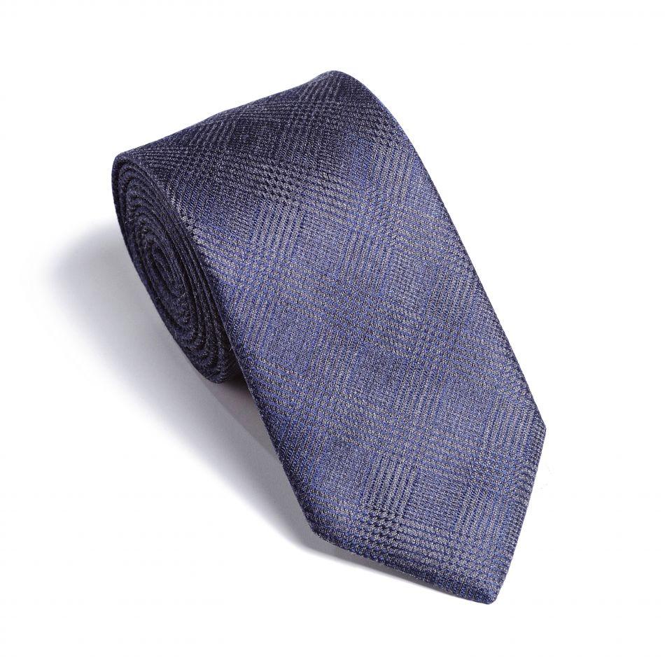 Галстук мужской сине-серый в клетку