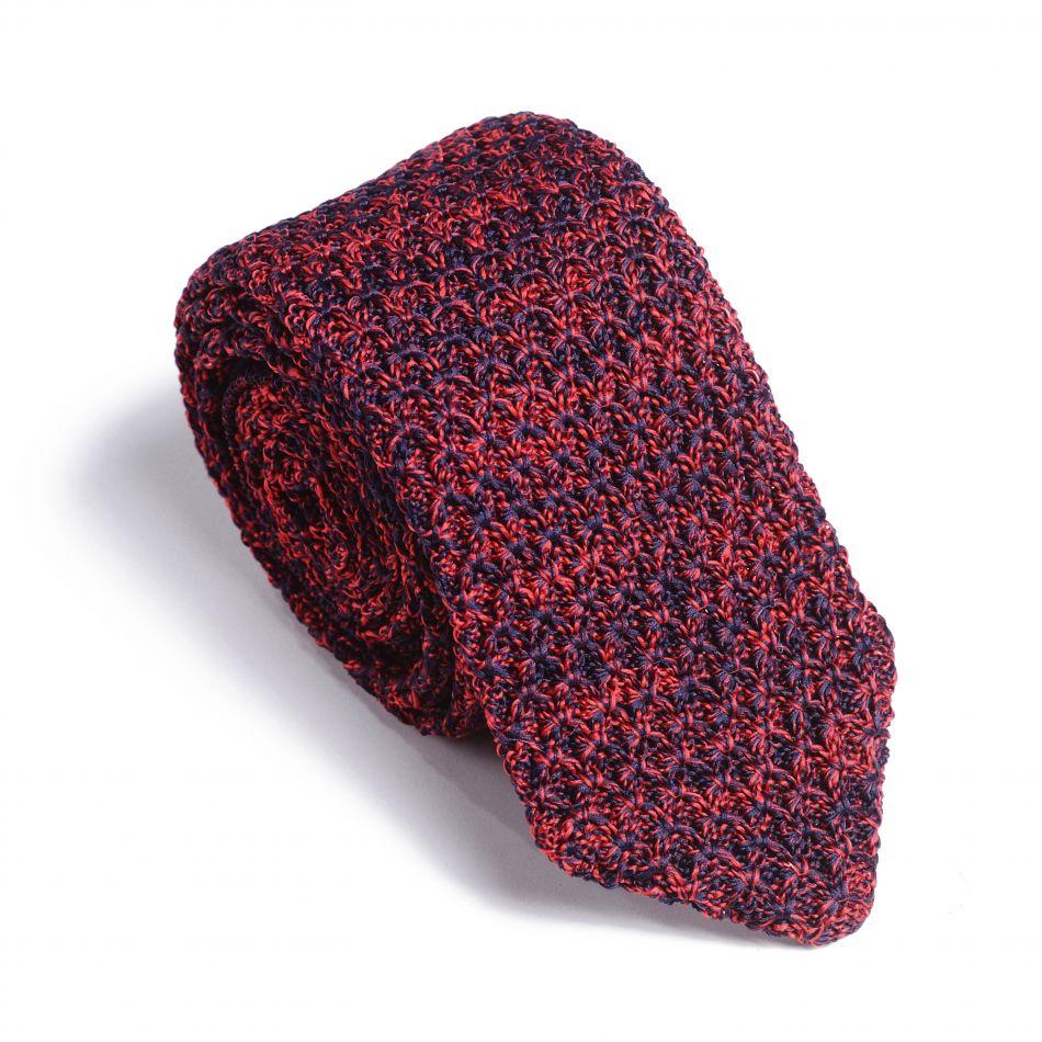 Галстук мужской бордово-синий трикотажный, объемное плетение