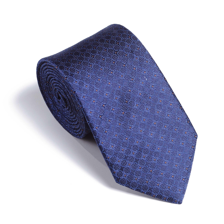 Галстук мужской синий в голубой цветочный орнамент