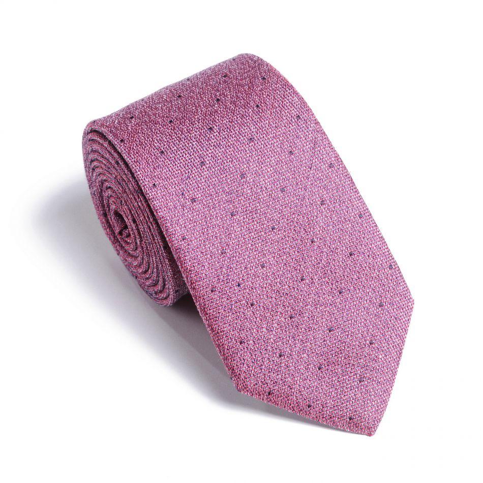 Галстук мужской розово-серый в точку