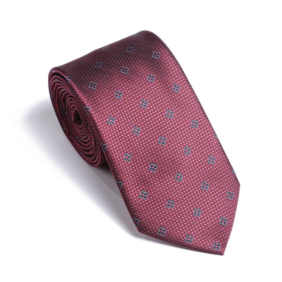 Галстук мужской рубиновый в мелкие цветочки