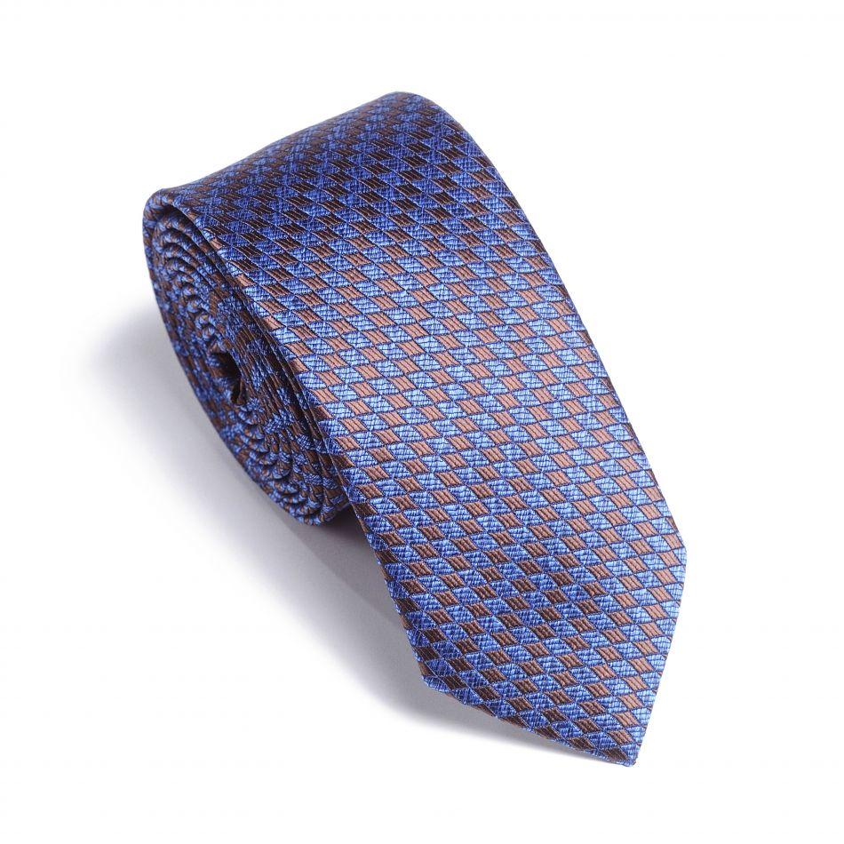 Галстук мужской светло-синий в коричневый орнамент