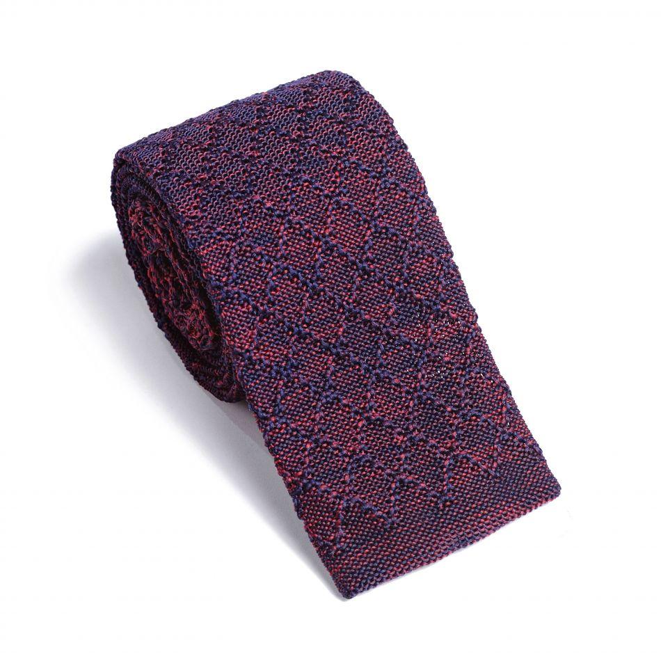 Галстук мужской сине-бордовый трикотажный, объемное плетение