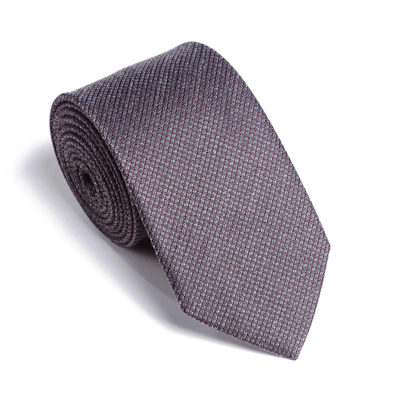 Галстук мужской серый в бордовую точку