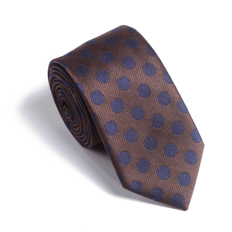 Галстук мужской коричневый в темно-синий горох