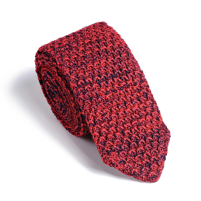 Галстук мужской красно-синий трикотажный, объемное плетение