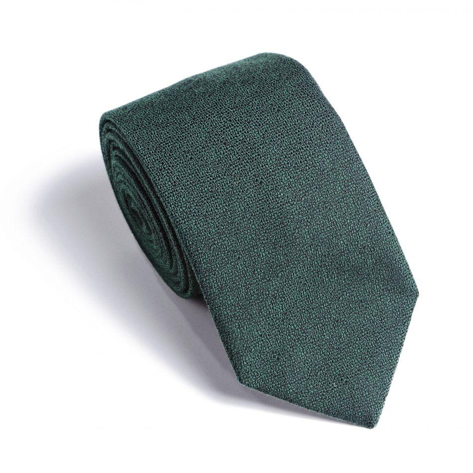 Галстук мужской темно-зеленый в мелкую черную фактуру