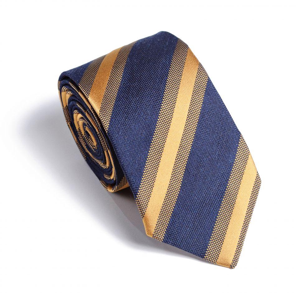 Галстук мужской синий в золотую полоску