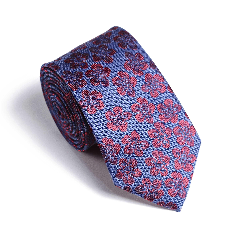 Галстук мужской синий в бордовый цветочный узор