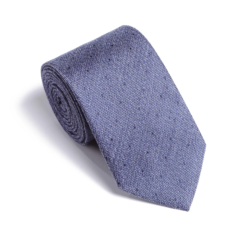 Галстук мужской светло-синий меланж в точку