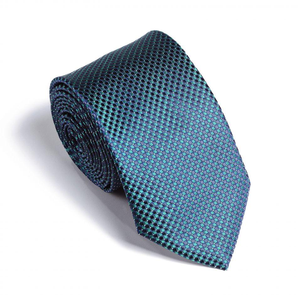 Галстук мужской зеленый в круглый синий узор