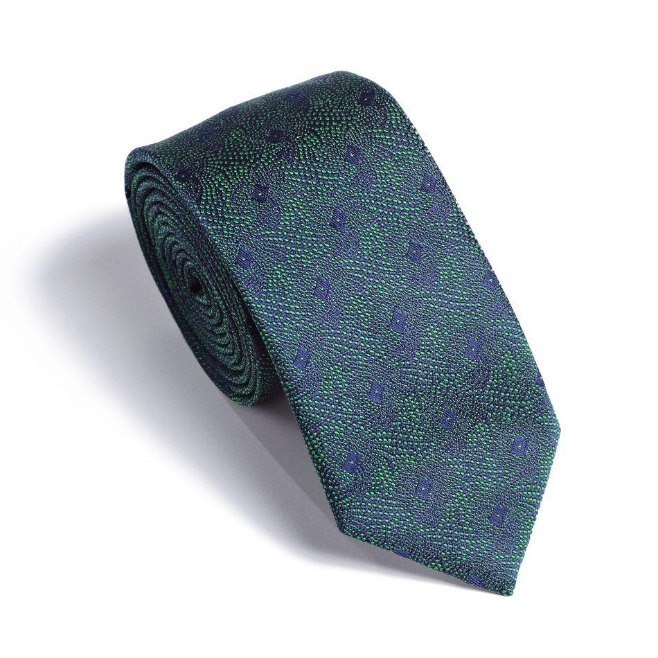 Галстук мужской зеленый в синий узор