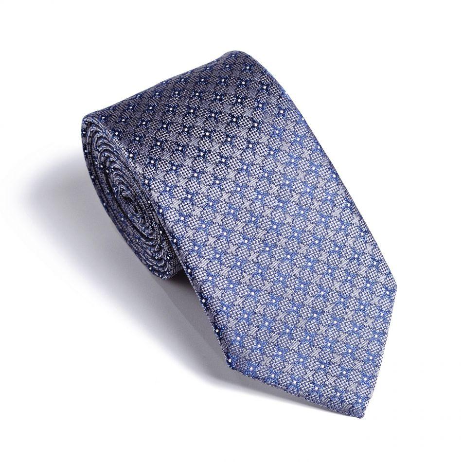 Галстук мужской серый в синий узор