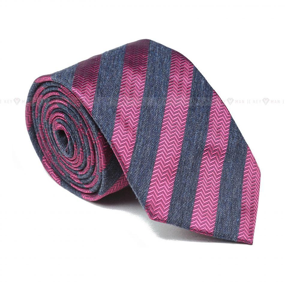Галстук мужской серый в розовую полоску (итальянский хлопок)