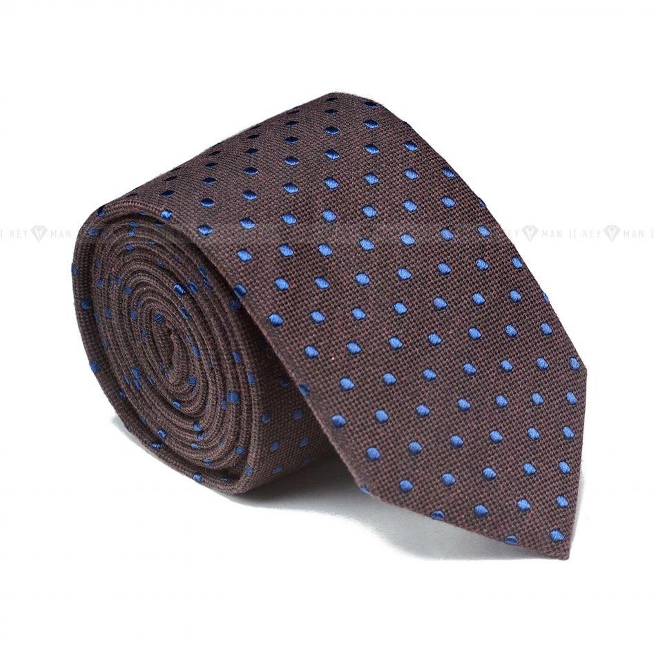 Галстук мужской коричневый в синий горох (итальянский хлопок)