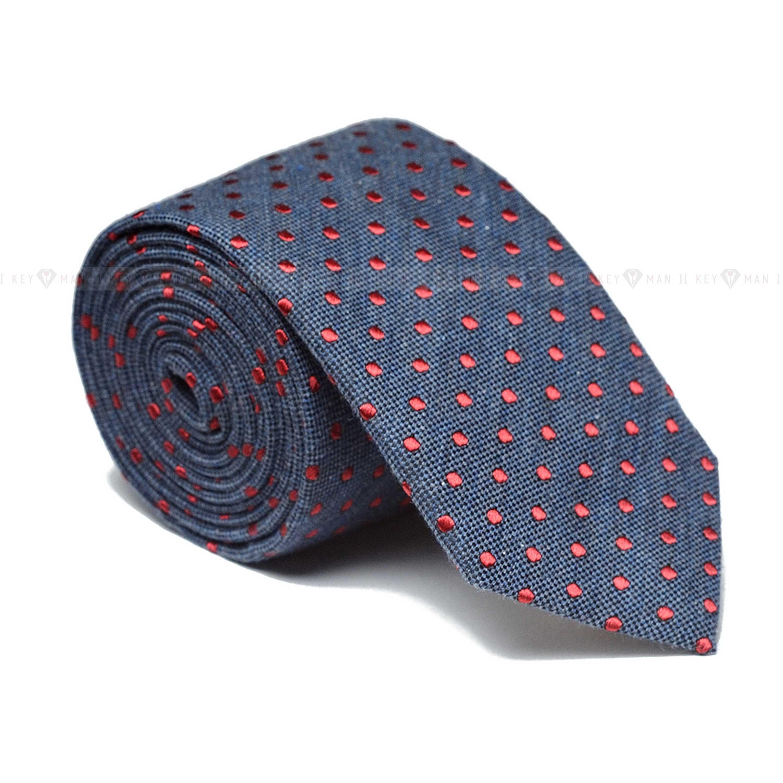 Галстук мужской сине-серый в красный горох (итальянский хлопок)